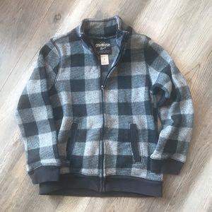Boys Plaid Zip-up Sweater